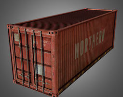 3d asset low-poly cargo container conex