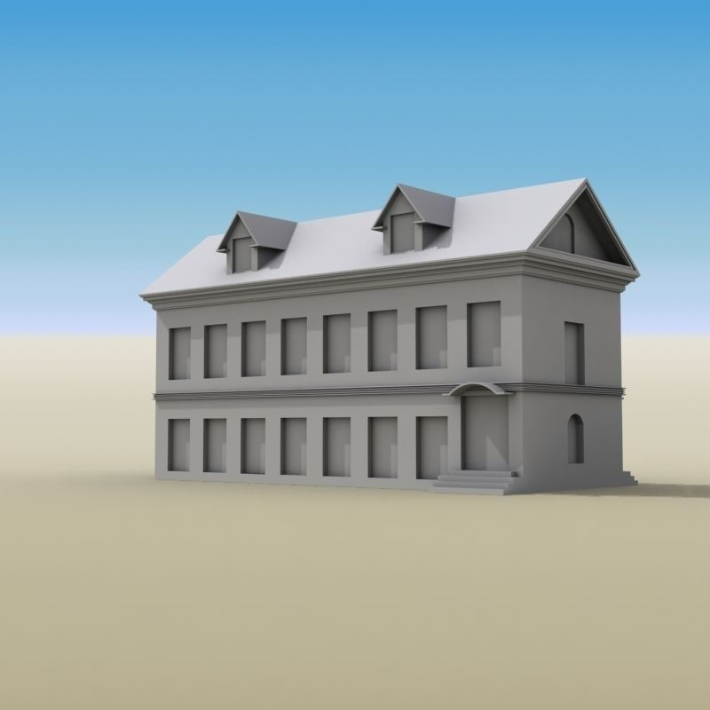 3d model house two story 01 vr ar low poly max obj 3ds for Two story model homes