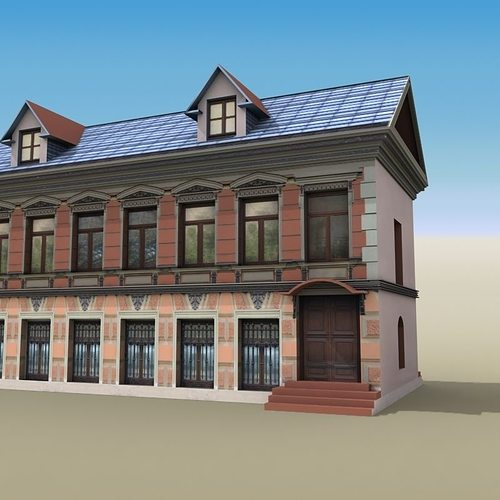 3d model house two story 01 cgtrader for Two story model homes