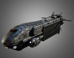 game-ready sci-fi transport ship 3d model