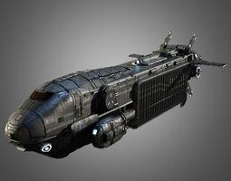 sci-fi transport ship 3d model low-poly obj fbx ma mb tga