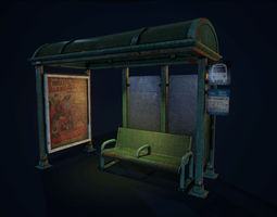 3D asset Bus Stop and Bench