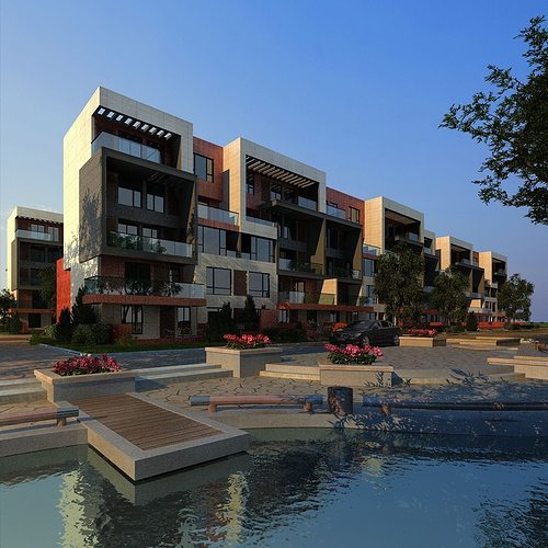 3d Model House Building Residential: Windows 3D Model Multi Residential Building