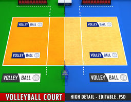 Volleyball court high detail low poly 3D Model