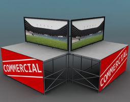 3D model Telebim LED screen double low poly