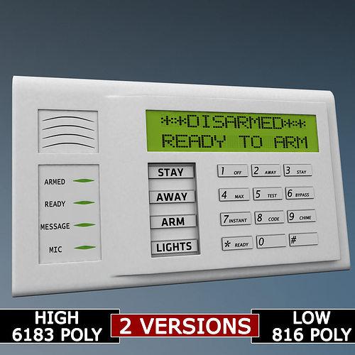 Alarm system keypad low poly