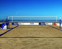 low-poly 3d model beach volleyball court low poly