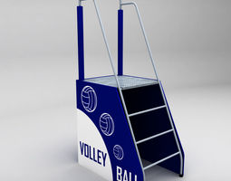 referee stand volleyball low poly 3d asset VR / AR ready