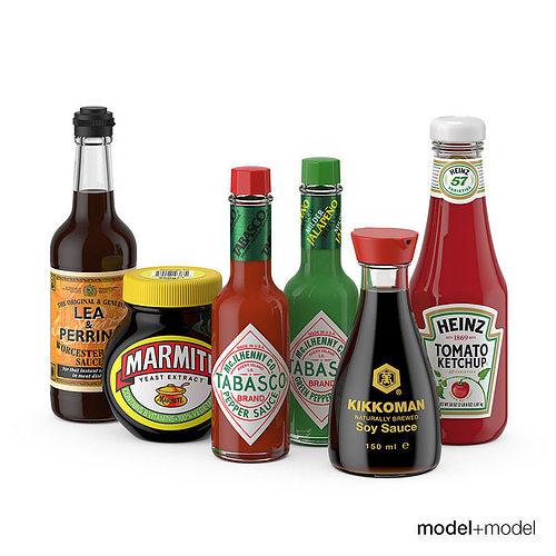 sauces set 3d model max obj fbx mat 1