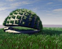 3D model Design pavilion with grass scene