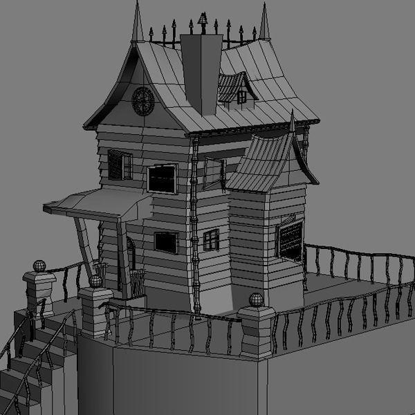 Spooky cartoon house 3d model max obj for Exterior 3d model