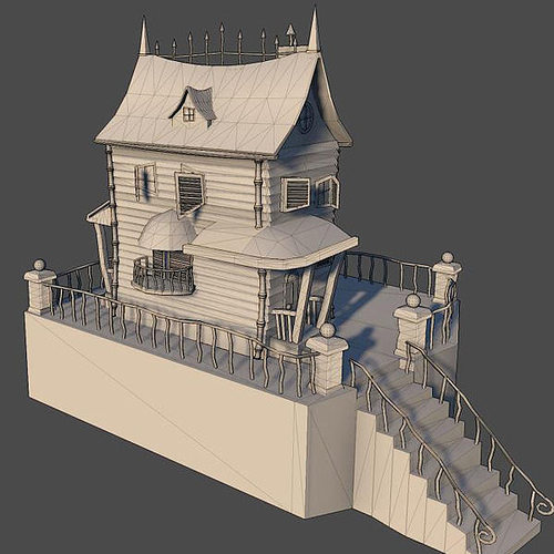 Spooky Cartoon House 3d Model Max Obj 2