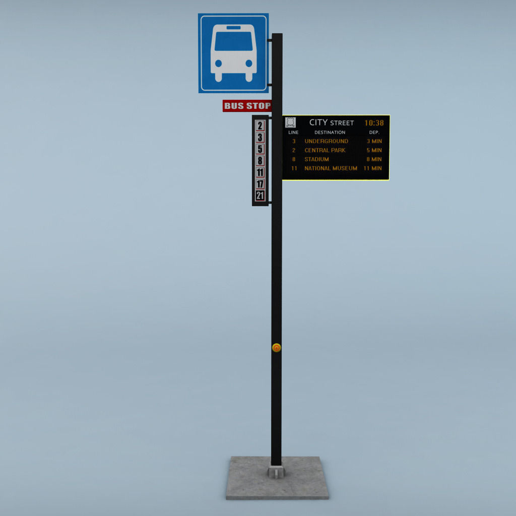 3d model electronic bus stop schedule timetable low poly vr / ar