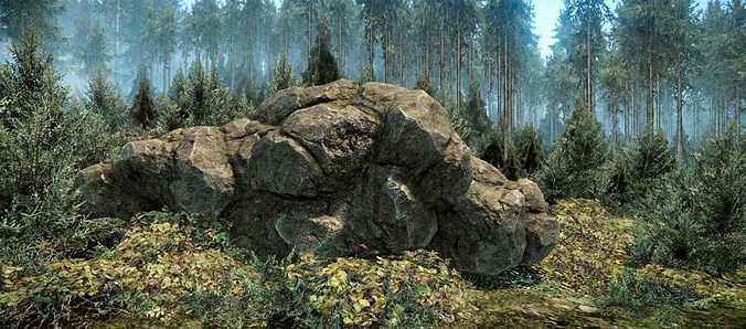 forest rock 3d model low-poly max obj mtl fbx stl tga 1