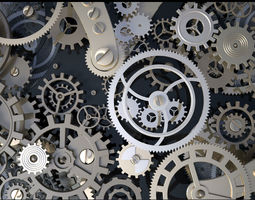 background with metal cogwheels a clockwork animated 3d