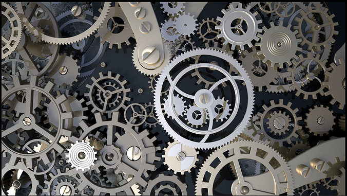 Background With Metal Cogwheels A Clockwork 3d Model