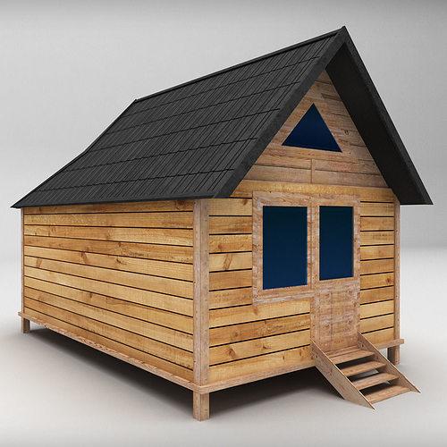 wooden house medium low poly 3d model low-poly max obj mtl 3ds fbx 1