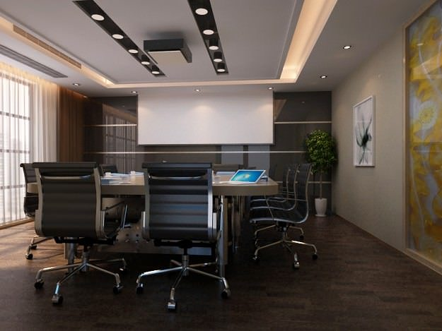 Photorealistic conference room 01 3d model animated rigged for Office design 3d max