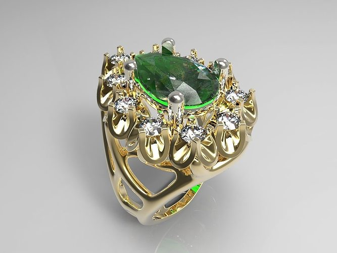 ring with diamonds and emeralds 3d model 3dm 1