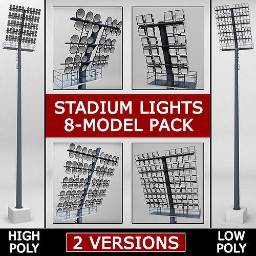 stadium light lux pack 3d model max obj 3ds mtl 1