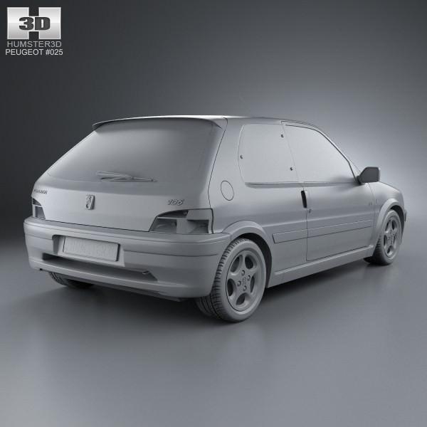 Peugeot 106 gti 3 door 1997 3d model max obj 3ds fbx c4d for 106 door