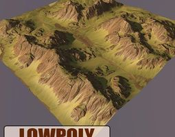 Lowpoly Mountain level 3D asset game-ready
