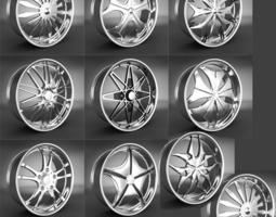 tires 10 Wheel Rims 031-040 3D model