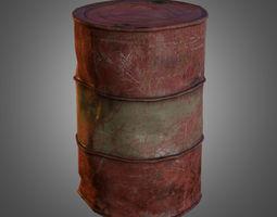 old oil barrel low-poly 3d asset