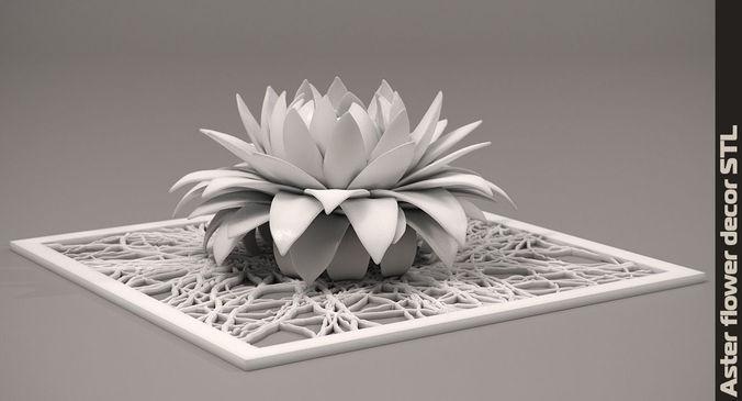 aster flower decor element stl 3d model 3d printable max