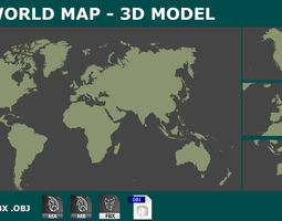 VR / AR ready 3D WORLD MAP PLANISPHERE