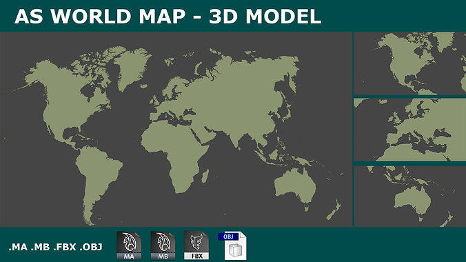 Vr ar ready 3d world map planisphere cgtrader 3d world map planisphere 3d model low poly obj 3ds fbx c4d ma mb mtl gumiabroncs Images