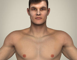 realistic young muscular man 3d model