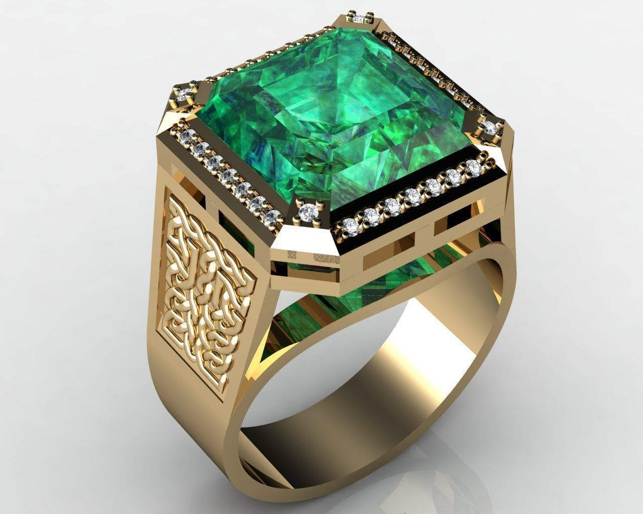 Ring With Emerald 3d Model 3d Printable 3dm Cgtrader Com