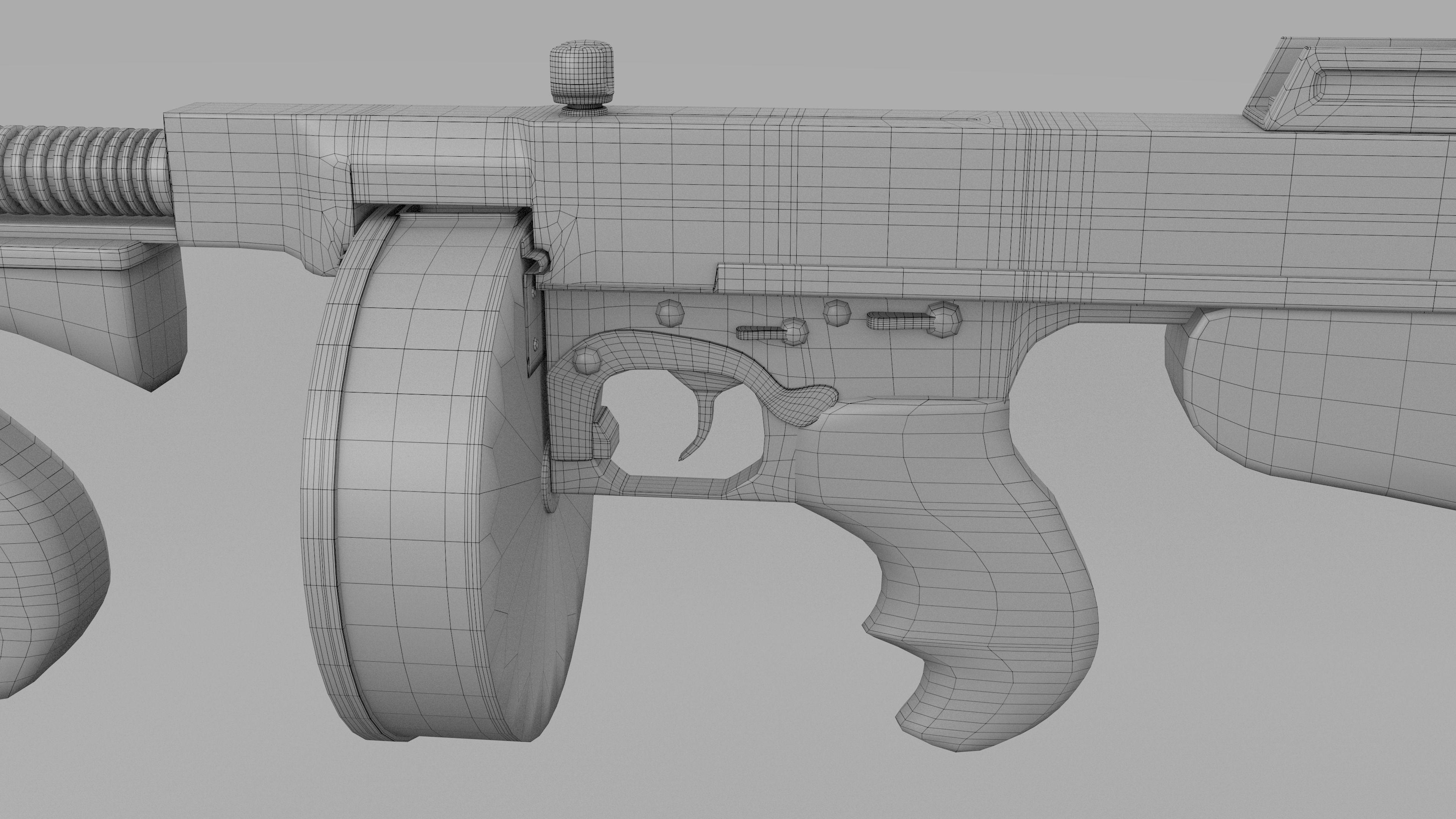 317dafe343a1 Thompson 1928 Tommy Gun 3D asset