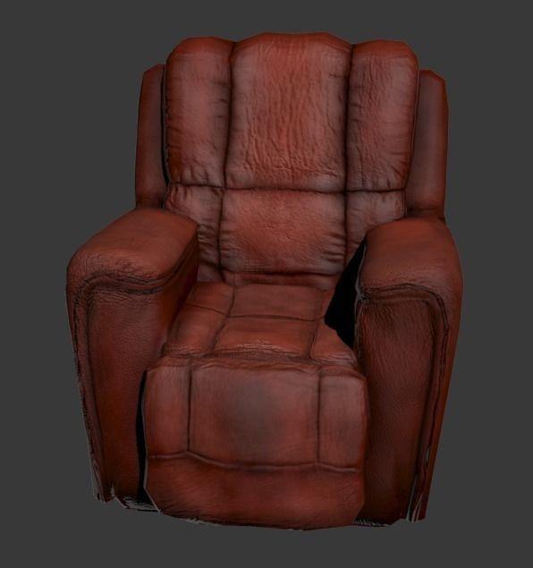 ... Worn Leather Armchair 3d Model Low Poly Obj Fbx Mtl 5