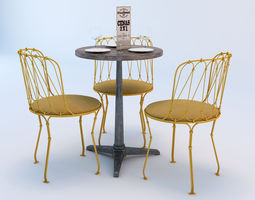 3D Bistro Table and Chair Set