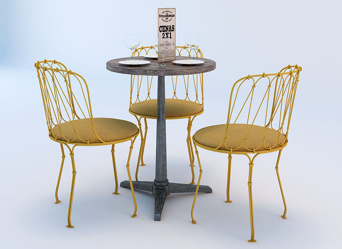 & 3D Bistro Table and Chair Set | CGTrader