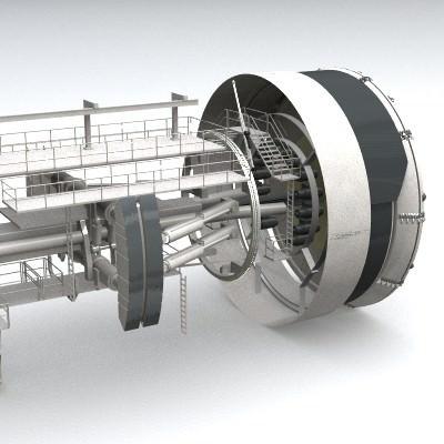 tunnel boring machine tbm 3d model 3ds lwo lw lws 2