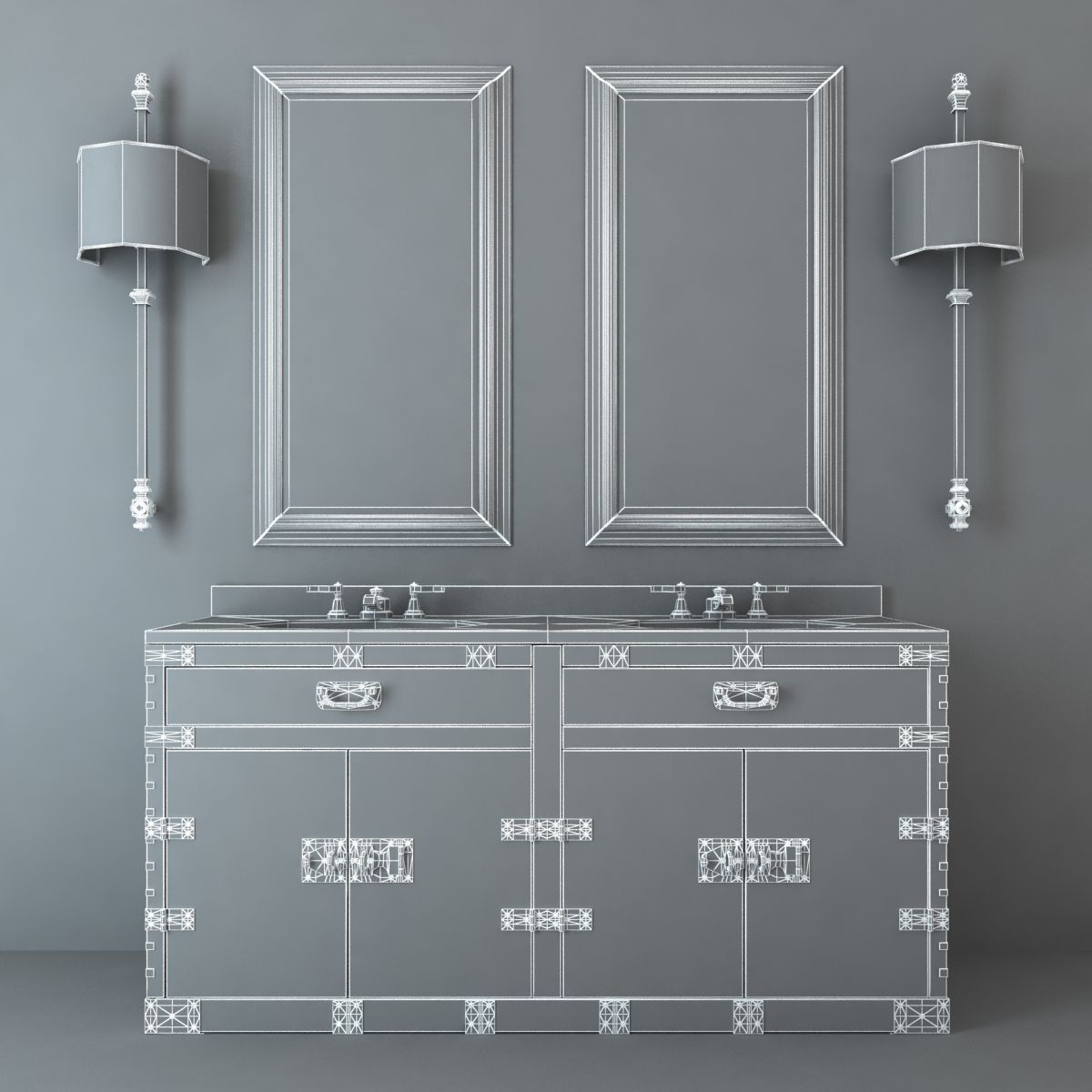 Restoration Hardware Bathroom Furniture Set 3d Model Max
