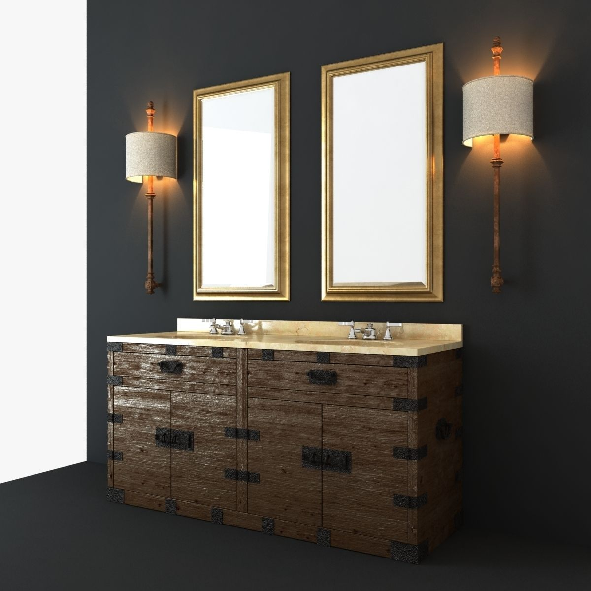 Restoration hardware bathroom furniture set 3d model max for Bathroom restoration