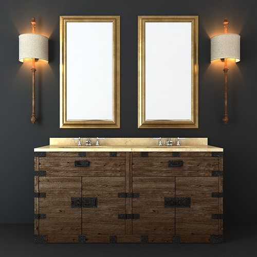 Restoration Hardware Bathroom Furniture Set 3d Model Max Obj Fbx Mtl