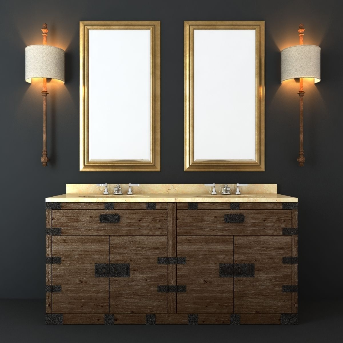 Bathroom Furniture Set Model Max Obj Fbx