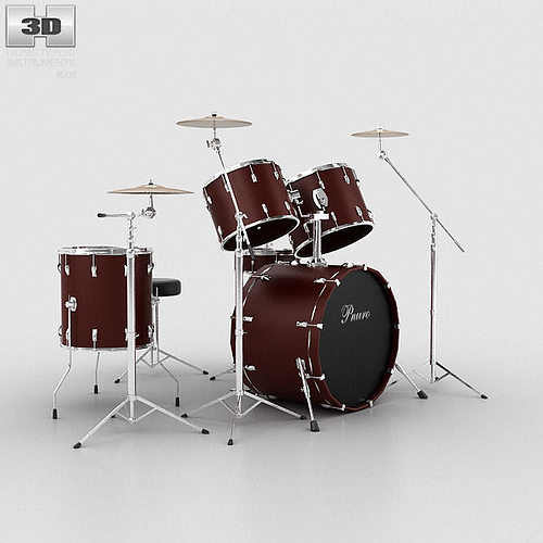 drum kit 3d model max obj 3ds fbx c4d lwo lw lws 1