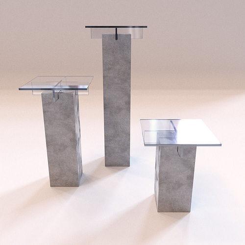 roche bobois - small furniture tenere stools 3d model low-poly max obj fbx mtl 1