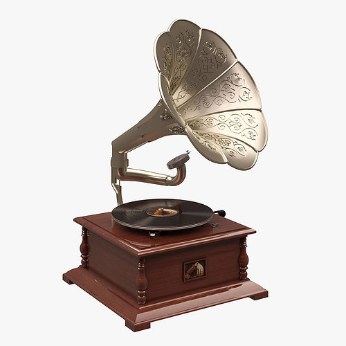 gramaphone 002 his masters voice 3d cgtrader. Black Bedroom Furniture Sets. Home Design Ideas