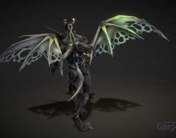gargoyle 3d model animated low-poly