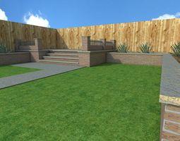 3D model garden scene