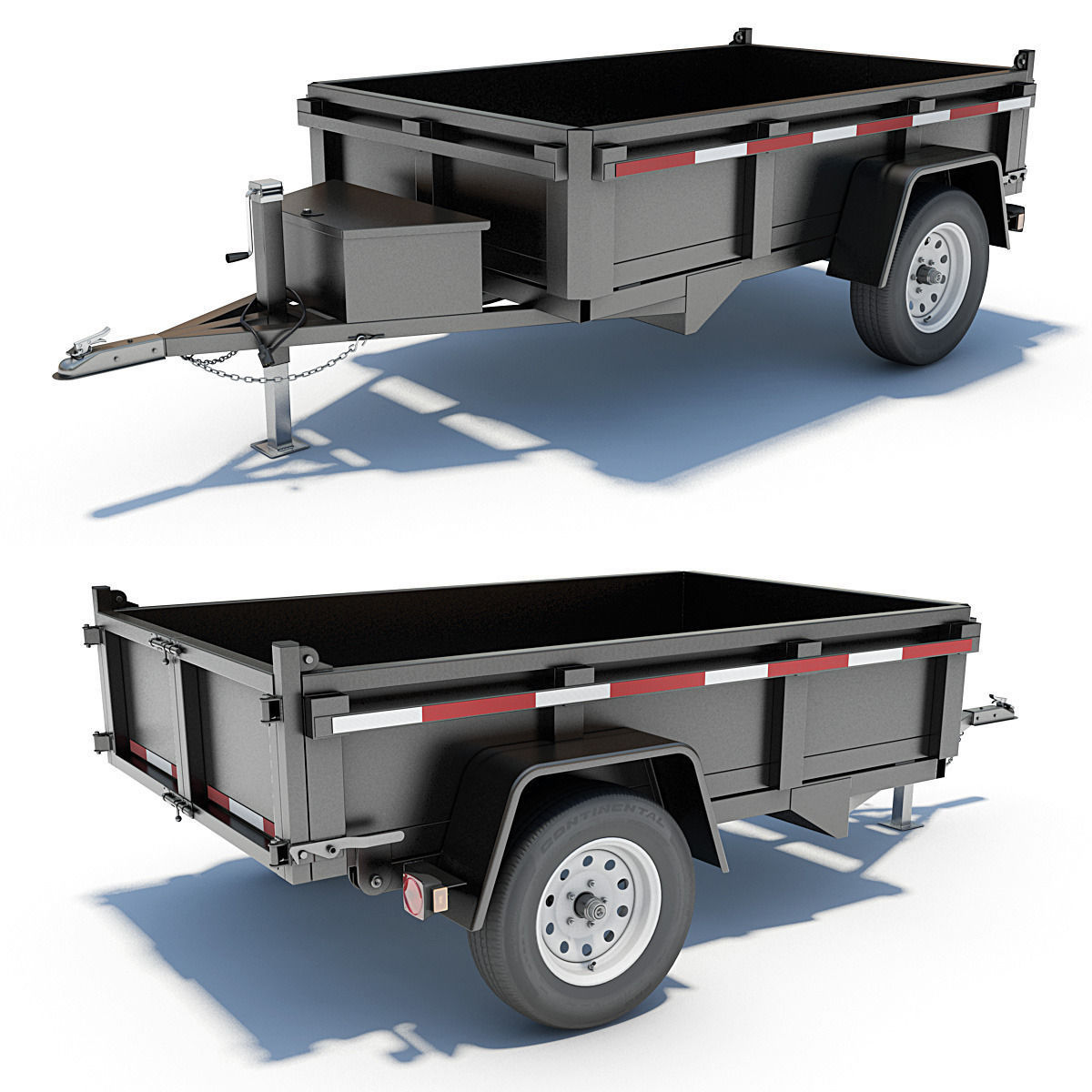 Utility Trailers: 8 Utility Cargo Trailers 3D Model Animated MAX OBJ 3DS LWO