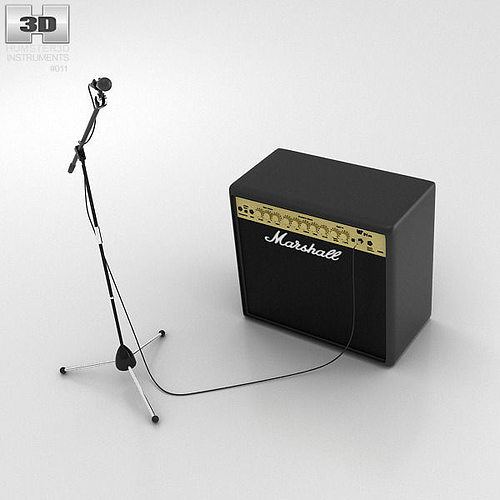 microphone with holder and amp 3d cgtrader. Black Bedroom Furniture Sets. Home Design Ideas