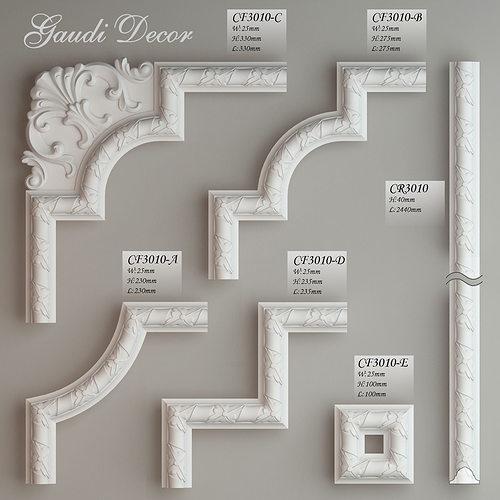 Molding with corner elements Gaudi Decor 3D model MAX OBJ MTL FBX